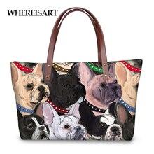 783710e404bd6 WHEREISART francuski Bulldogs 3D projekt luksusowe torebki kobiety mody  duża pojemność dużego ciężaru torby na ramię