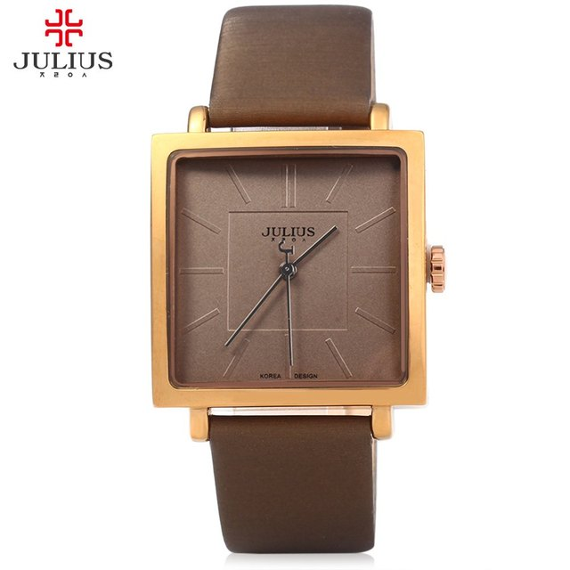 Julius Square Dial Leather Strap Watches Men Women Fashion Casual
