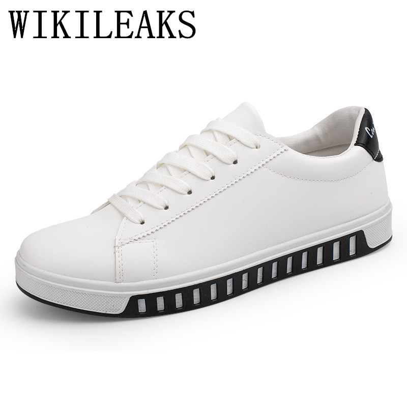 2017 White Men Sport Leather Shoes Designer Luxury Brand Casual Shoes Man Trainers Zapatos Hombre Chaussure Basket Femme Black 2016 new autumn winter man casual shoes sport male leisure chaussure laced up basket shoes for adults black