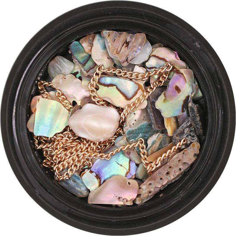 1 Pot Natural Sea Shell Colorful Stones Golden Chains Nail