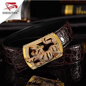DINISITON High-grade Man Rhinestone Belt Steel Buckle Animal Chinese Twelve Zodiac Top Layer Genuine Leather Strap SX001 - discount item  24% OFF Belts