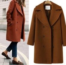 Europe United States Fashion womens wear coat big yards long windbreaker cloth overcoat lady tweed pocket design outfit S-XL