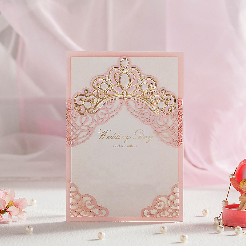Royal Pink Laser Cut Wedding Invitations Cards With Gold Embossed Hollow Flora Design for Bridal Shower Printable Customized