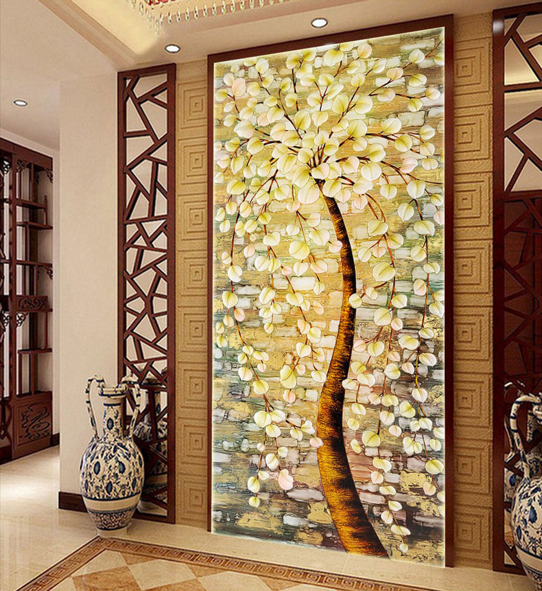 120*65 Needlework,DIY DMC Cross Stitch,Set Full Embroidery Kit,Luxury Lucky Rich Tree Flower Pattern Cross-Stitch,Wall Home Deco