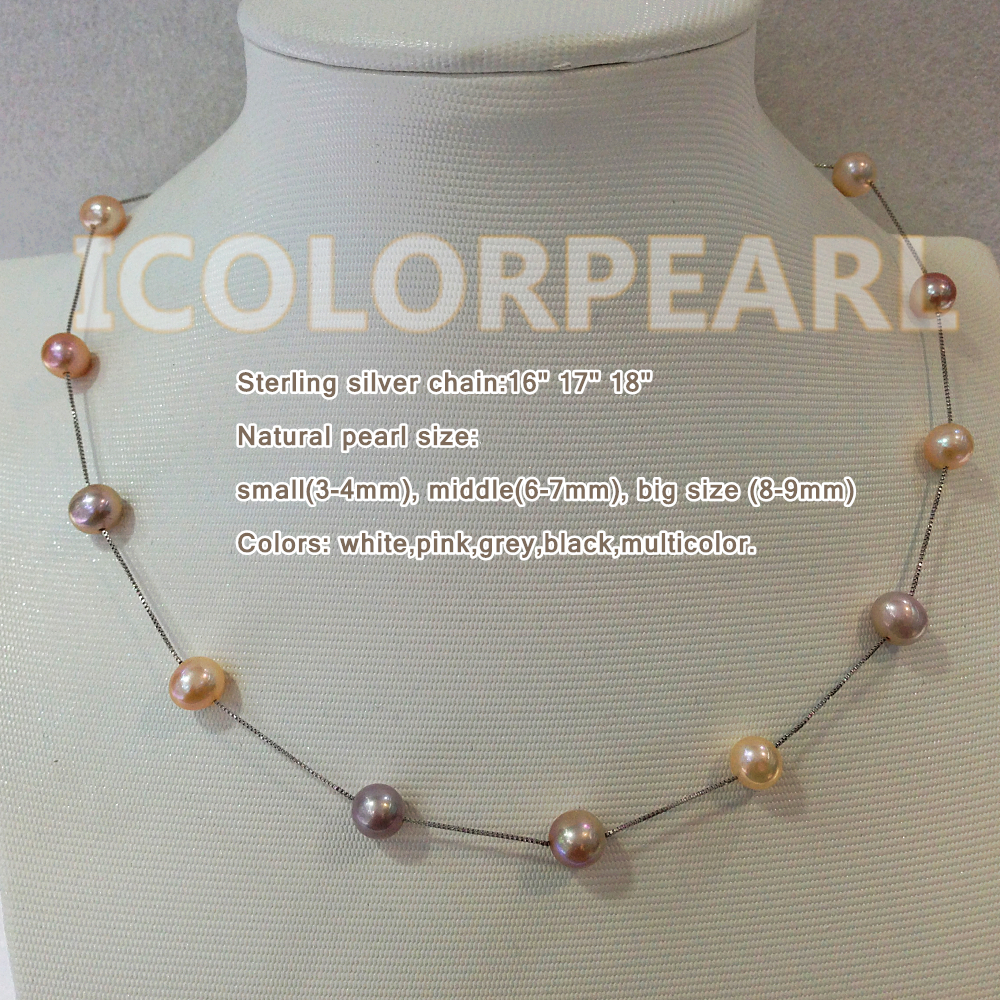6-7mm White/ Pink/Multicolor Nearround Natural Freshwater Pearl Necklace, Silver Chain. Unique Gift For Girls.