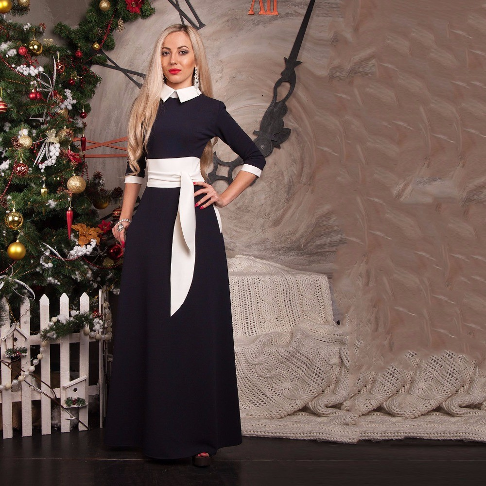 New-fashion-women-vestidos-autumn-summer-floor-length-dress-slim-vintage-turn-down-collar-long-maxi