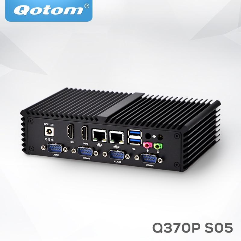 Qotom Mini PC Q355P Q370P Core I5 I7 Processor,Dual Lan, 6*USB 6*COM Fanless Compact Computer