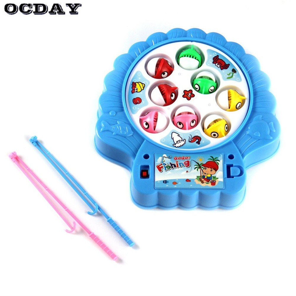 OCDAY Kids Fishing Toys Set For Children Family Interaction Electric Rotating Fishing Game Funny Sports Educational Toys Gifts