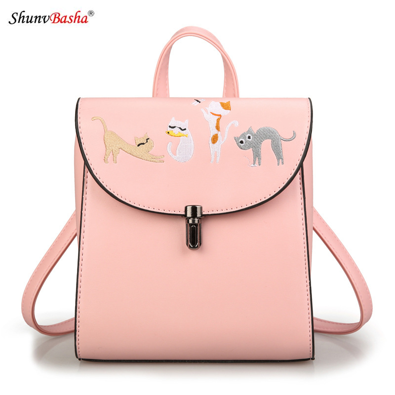 2017 Europe and the United States new women s fashion embroidery backpack multi function plugs shoulder