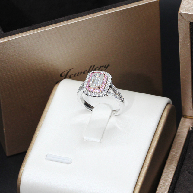 14K White Rose Gold 1CT Emerald Cut Diamond Engagement Ring