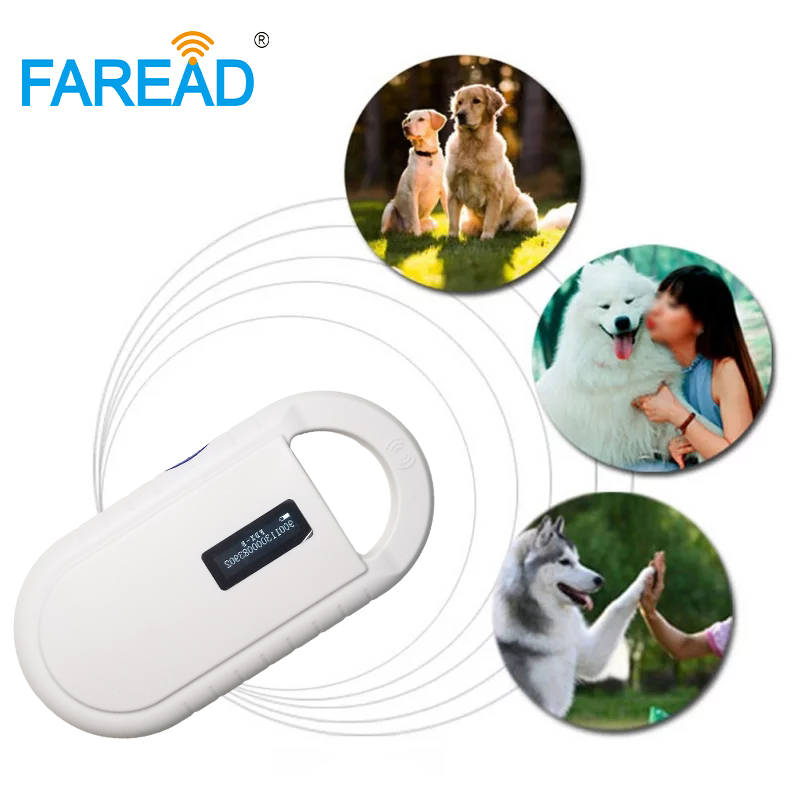 Free Shipping RFID 134.2KHz FDX-B ID64 ISO CE Rohs Animal Mini Portable Handheld Reader Vet Microchip Scanner For Dogs