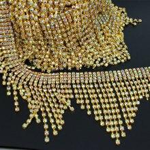 1 stoczni do szycia na sukni ślubnej dekoracji Rhinestone kryształ łańcuch wykończenia wstążka pas musujące srebrny dla nowożeńców aplikacja szarfa pasek