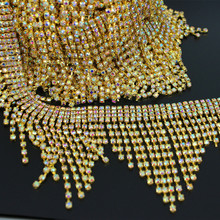1 yard couture sur robe de mariée décoration strass cristal chaîne ruban dhabillage ceinture étincelante argent Applique ceinture de ceinture de mariée