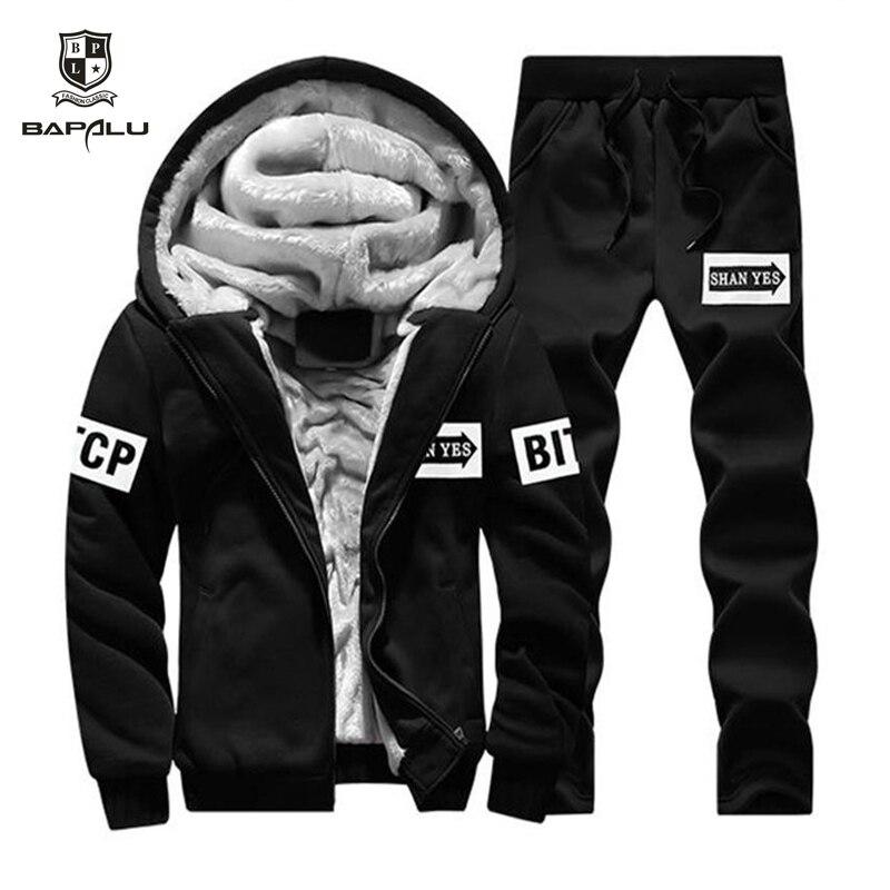 Men Tracksuit Sportswear Sudadera Cardigan Winter Fleece Cap Jacket+pants Sweatshirt Men's Hoodie Sports Suit Jackets Moleton