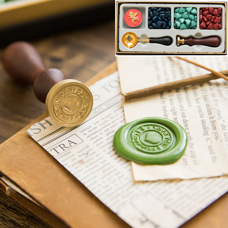 Retro Fire Paint Seal Wax Set DIY Paper Card Gift Envelope Decoration Delicate Cuprum Stamps Wood Handle For Wedding Invitation