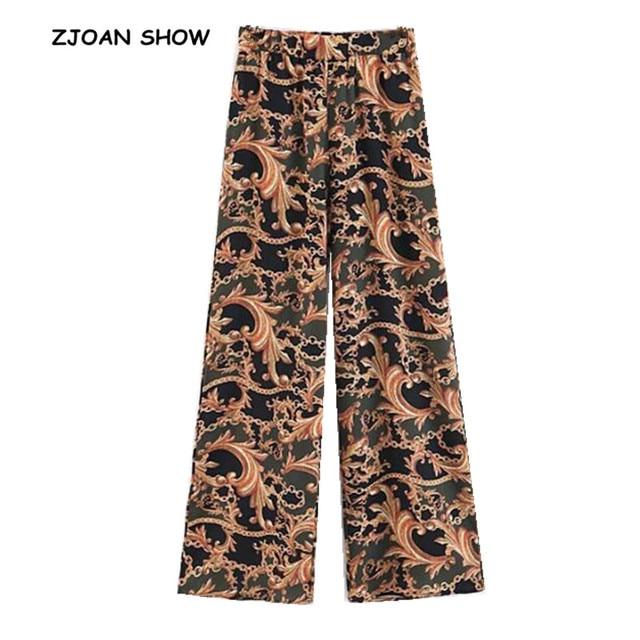 bd36cd509b Ethnic Chain Floral Print Wide Leg Pants Vintage 2018 Women Orange Tribal  African Print Long Trousers Full Length Hippie Pants