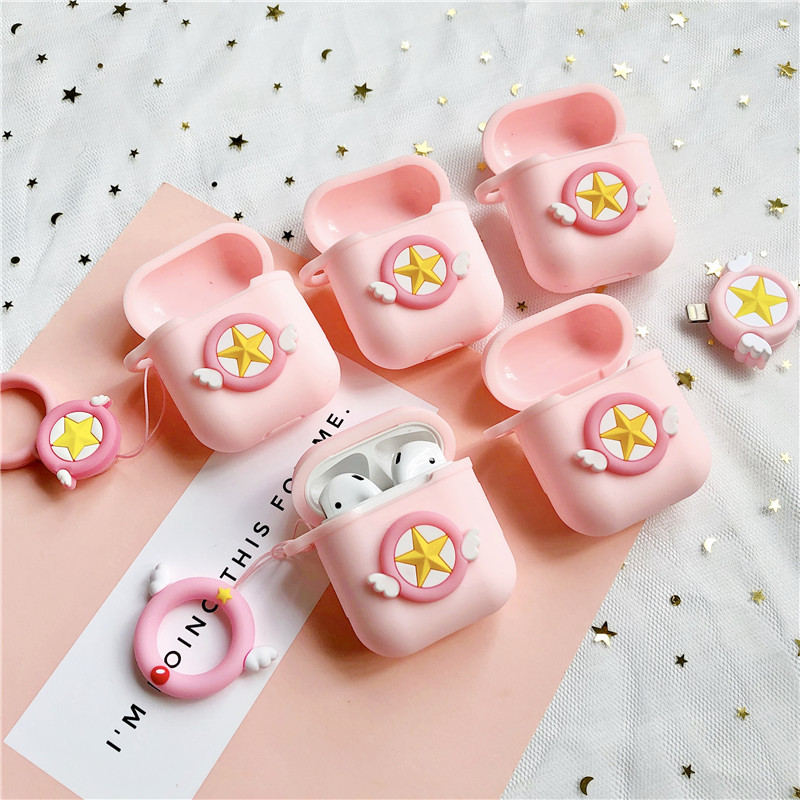 Cartoon Cute DIY Silicone Bluetooth Wireless Earphone Case For AirPods Protective Cover Case for Apple Airpods With Strap