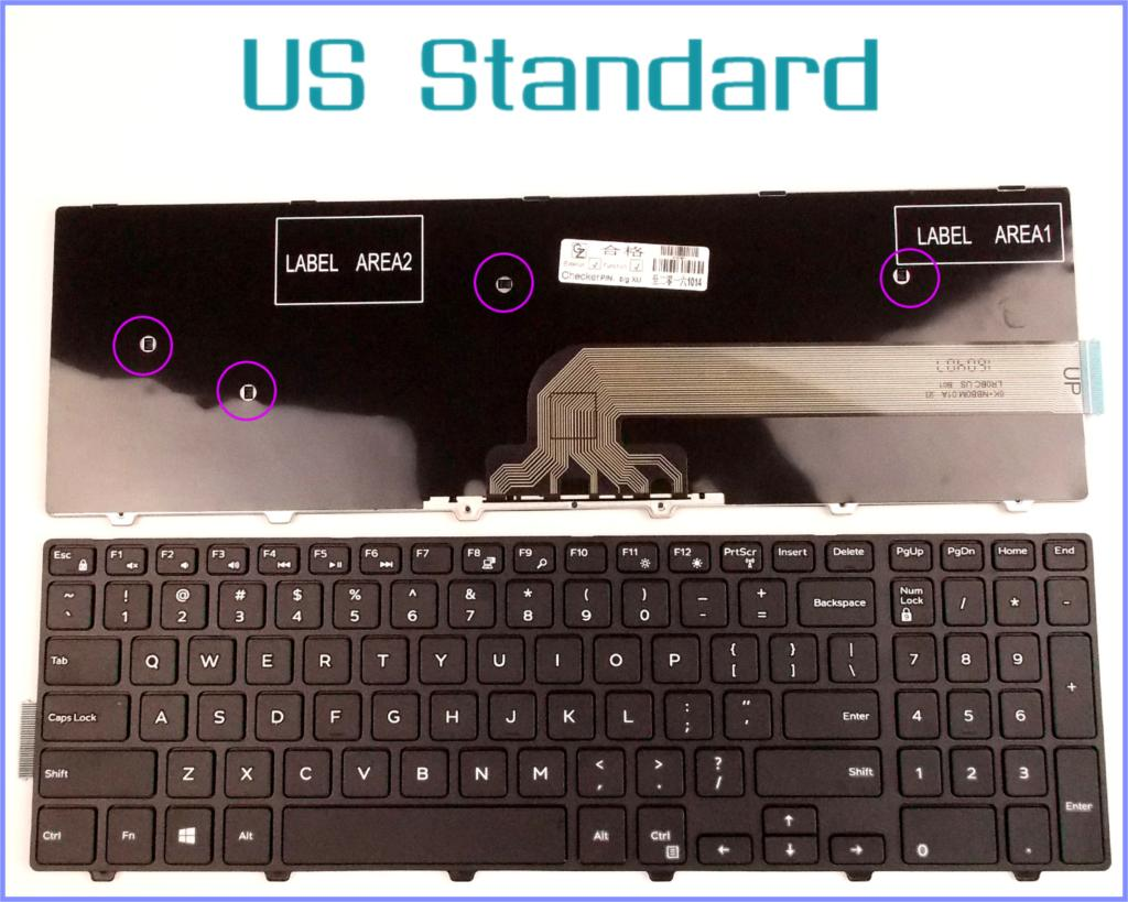 US English Version Keyboard for Dell Inspiron 15-5547 17-5000 MP-13N73US-442 Laptop Black With frame Non-Backlit