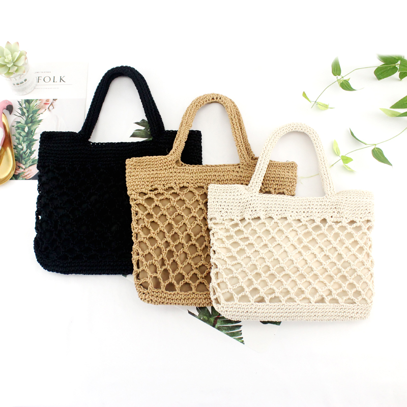 New Hollow Fishing Net Woven Bag Tide Female Portable Holiday Beach Straw Bag Vintage Travel Bag