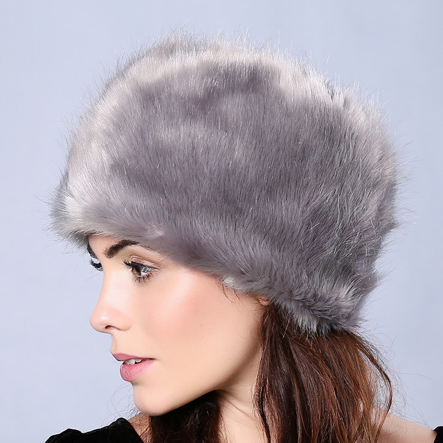 Faux Fur Women Hats Solid Color Thick Warm Outdoor Ski Skullies & Beanies Female Winter Caps Keep Ear Warm Winter Hat