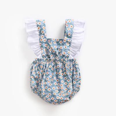 Ins/модный Боди без рукавов с цветочным рисунком для маленьких девочек; Повседневный хлопковый летний комплект одежды для малышей 0-3 лет; комбинезоны для малышей - Цвет: 1