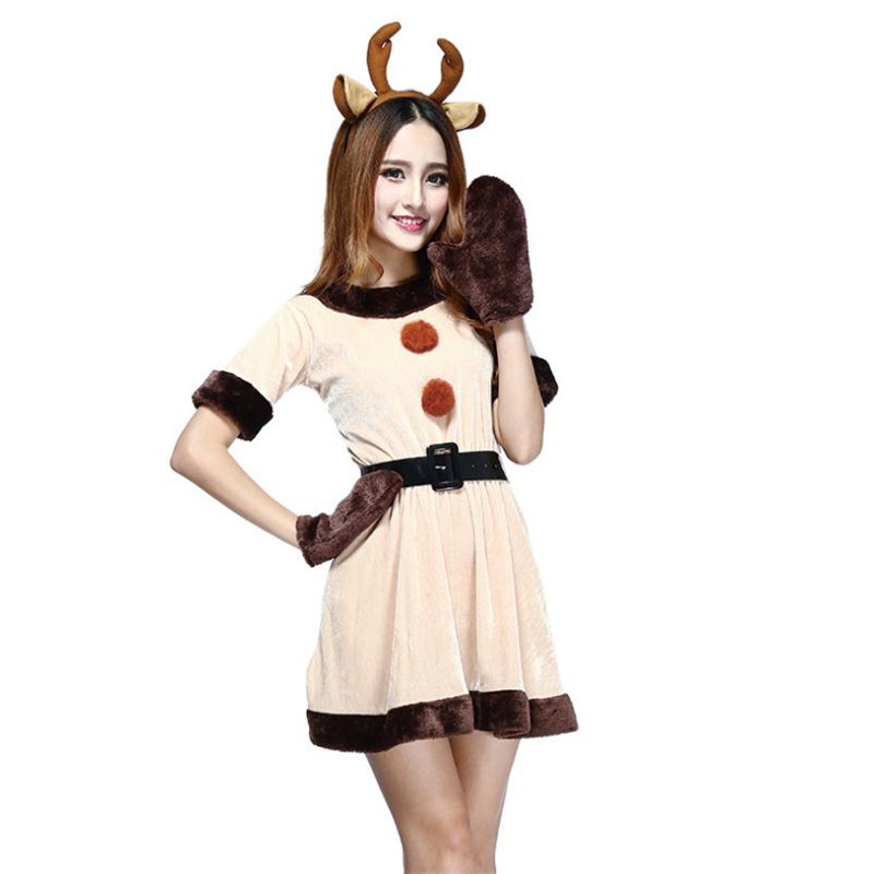 36c2b004c4 Santa Reindeer Elk Cosplay Costume Girl Lovely Anime Animal Uniform Dress  Set Christmas Party Halloween Costume For Women Adult -in Holidays Costumes  from ...