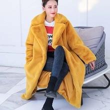 Женское зимнее пальто из искусственного меха кролика высокого качества, роскошное длинное меховое пальто, Свободное пальто с лацканами, плотное теплое женское плюшевые пальто больших размеров
