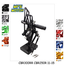 For Honda CBR300RR CBR250R 2011-2015 Motorcycle Foot Pegs CNC Adjustable Rearset Foot Rests CBR 300RR 250R Footrests Footpegs cnc aluminum adjustable rearsets foot pegs for honda cbr300rr cbr 300rr 2011 2012 2013 2014 2015