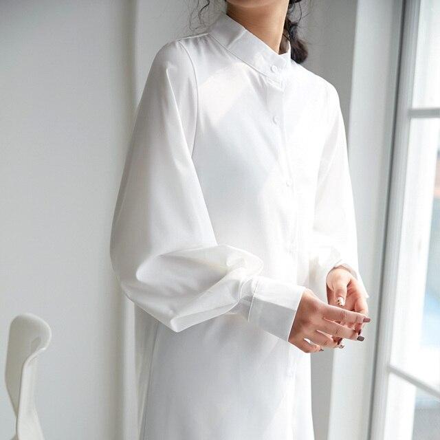 Casual Loose Women Long Shirts 2019 New Fashion Collar Plus Size Blouse Long Sleeve Buttons White Shirt Women's Tops Streetwears 4