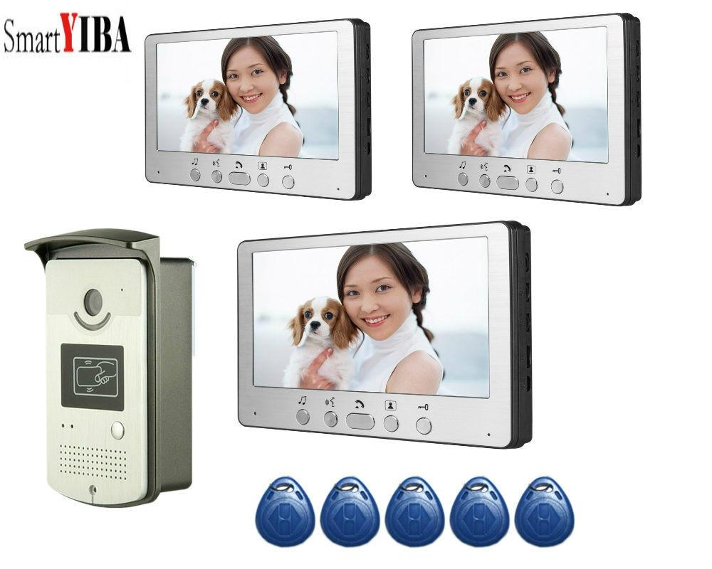 SmartYIBA Home Video Intercom 7 Inch Video Door Phone Doorbell Door 5pcs RFID Access Control System For 3 Unit Apartme