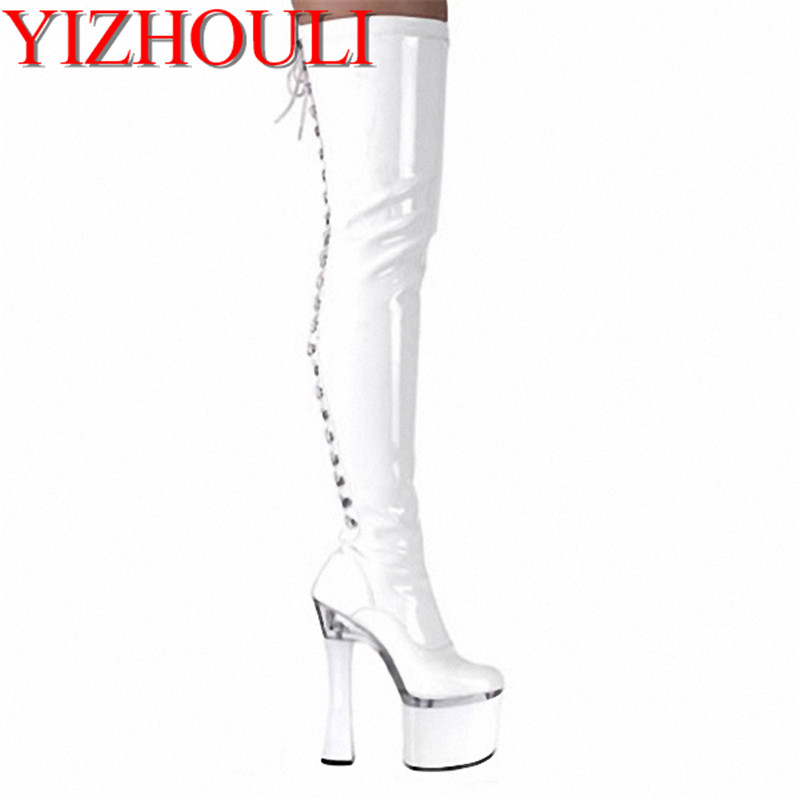 18CM High-Heeled Shoes Sexy Boots Plus Size Wine Glass With Platform Shoes Sexy Ladies' 7 Inch Thigh High Boots 20cm pole dancing sexy ultra high knee high boots with pure color sexy dancer high heeled lap dancing shoes