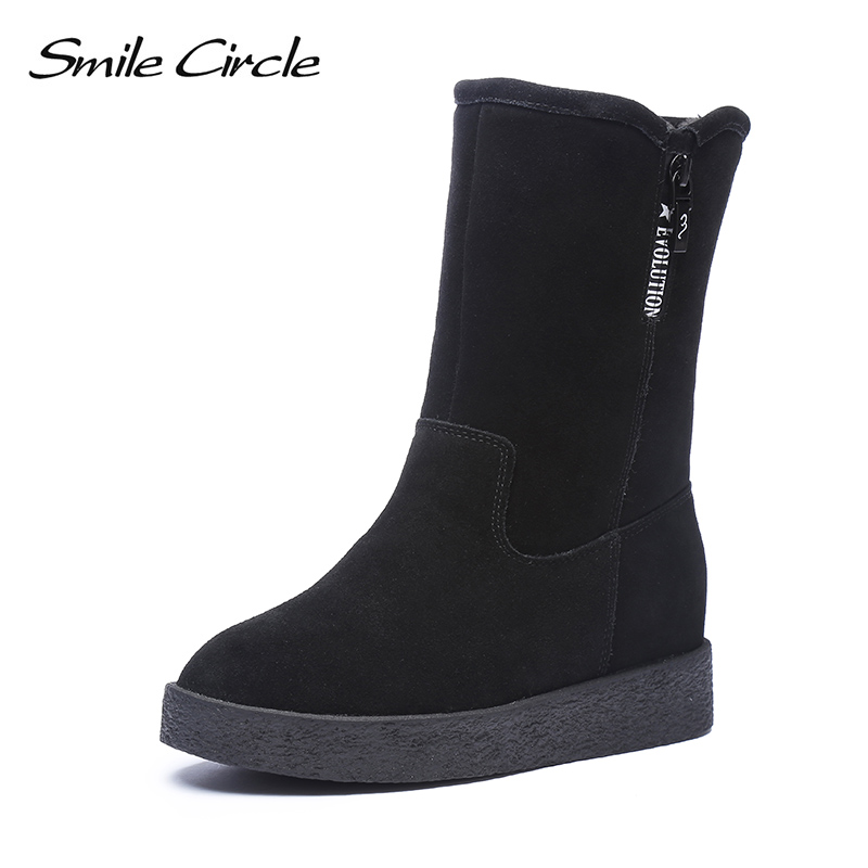 Smile Circle Slip on Snow Boots For Women shoes 2018 Winter Cow suede Leather Warm Long plush flat Boots Shoes High quality