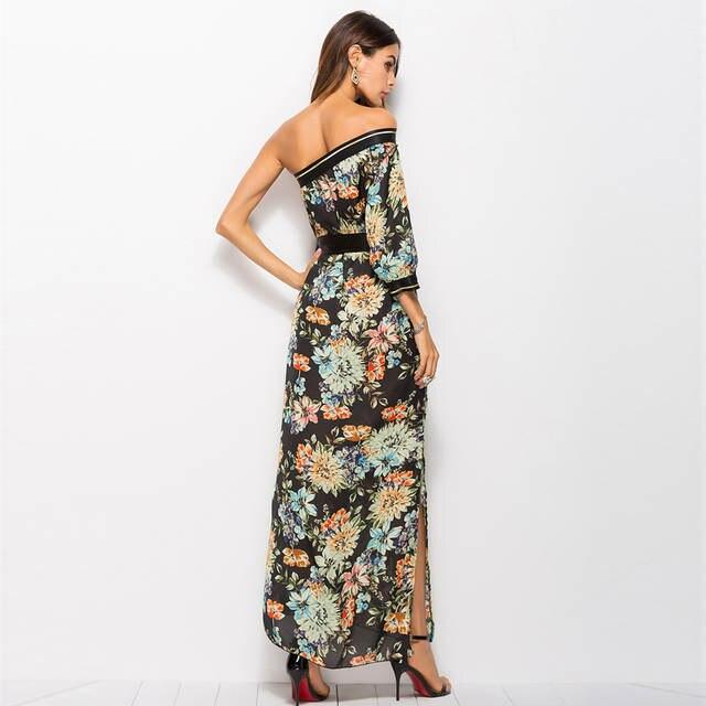 placeholder OTEN Bohemian style Summer Fashion Women One shoulder Flower  Printed split spring girl beach floral dresses 5b8f4c6d75c