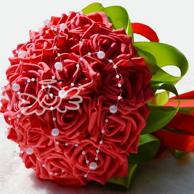 Artificial Rose Flower Romantic Bridesmaid Flower Bouquet Wedding ...