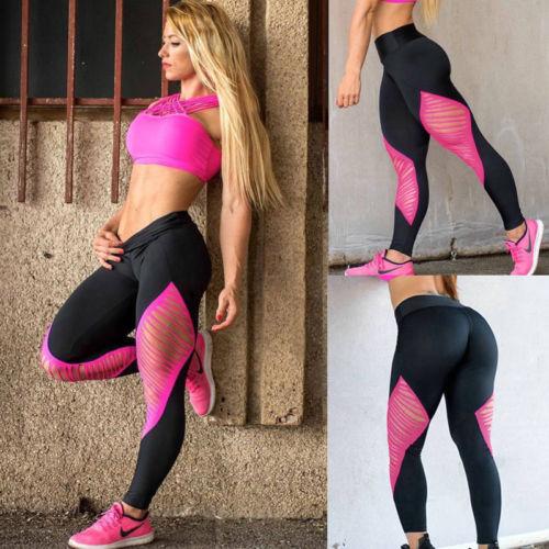 Women High Waist Yoga Fitness Leggings Running Gym Stretch Sports Pants Trouser