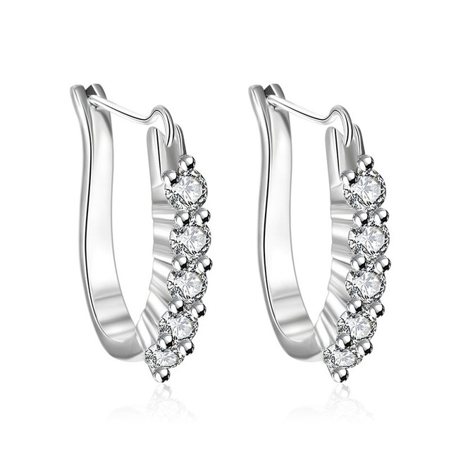 2017 New Cz Stone Jewelry Gifts U Shape Design Clip Earrings For Women Aros Silver