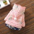 Floral pequeno bonito do bebê lactentes e crianças de algodão meninas jaqueta plus jaqueta de algodão grosso casaco de inverno Crianças Outerwear