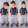 Imagem Real 2016 verão Meninos Conjuntos de Roupas de Moda Crianças Denim Define Crianças Cavalheiro Camisas + Calça Jeans Bib Conjunto de Roupas