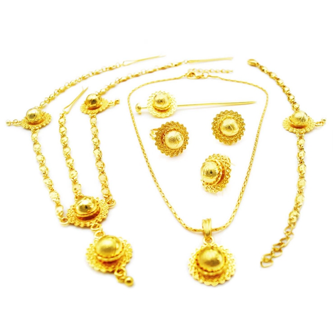 Free Shipping Yulaili High Quality Pure Gold Color Classical Ethiopia Design Six Pieces Jewelry Sets pure color velvet six pieces thin choker necklace