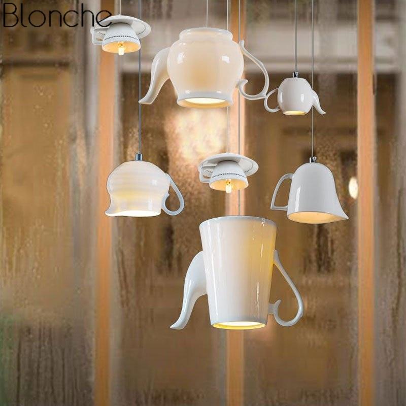Modern Nordic Ceramic Led Pendant Lights Tea Cup Teapot Hanging Lamp Luminaire Dining Room Kitchen Lighting Fixtures Home Decor