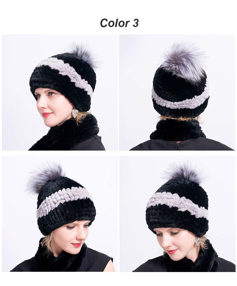 rex rabbit fur hat pompom color 3