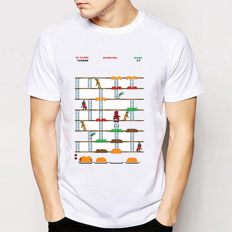 Retro Deadpool Taco Video Game Shirt 2016 Fashion Men Top Tee Funny Harajuku Short Sleeve Boy T-shirt White Tops
