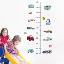 3d cars height measure wall stickers for kids rooms removable cartoon nursery school kindergarten growth chart wall decals цена
