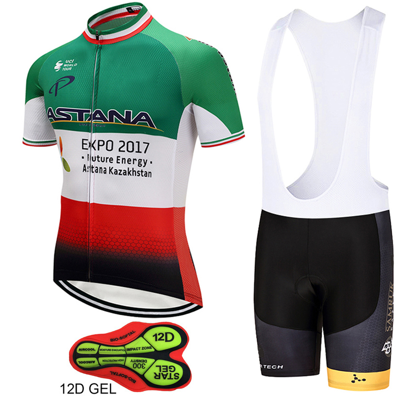 2018 pro team astana cycling jersey set mens summer bike clothing MTB Ropa Ciclismo Bicycle maillot jersey gel pad