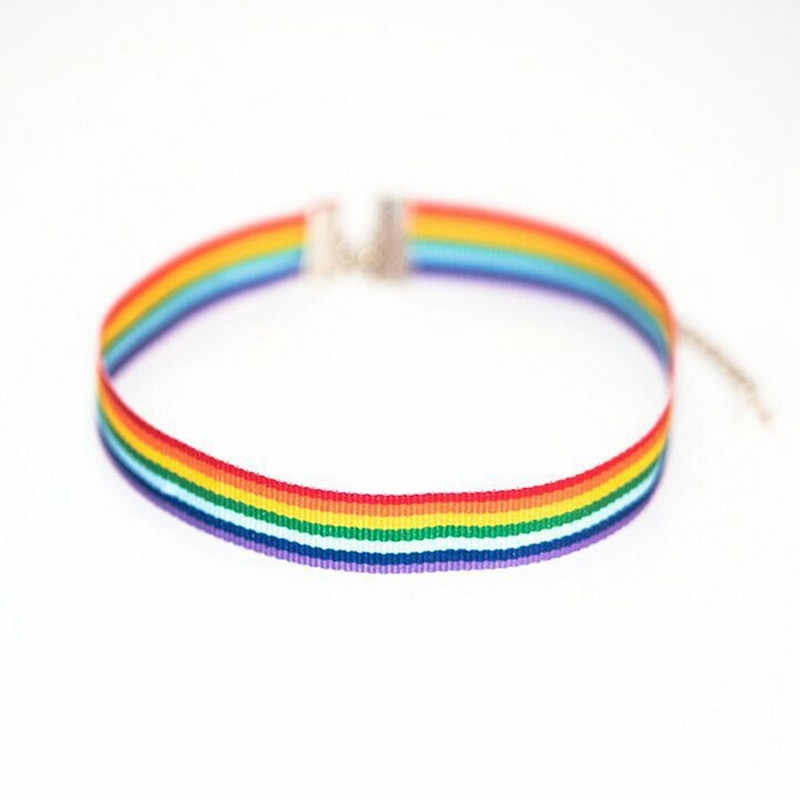 Men Women Gay Pride Rainbow Choker Necklace LGBT Gay And Lesbian Pride Lace Chocker Color Ribbon Collar Punk Jewelry Party Gift