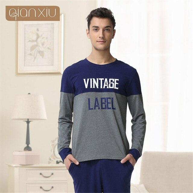 Qianxiu 2017 Plus Size Cotton pijamas mujer pajamas men long-sleeved pajama sets couple pajamas set Printed Homewear onesie