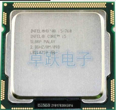 شحن مجاني الأصلي إنتل كور i5-760 المعالج 2.8 جيجا هرتز 8 ميجا كاش المقبس LGA1156 45nm سطح المكتب CPU I5 760 خدش قطعة