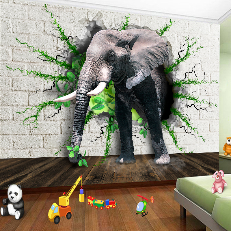Custom any size wall mural wallpapers Modern fashion Elephants pass through the wall  Perspective Wall Sticker YBZ096