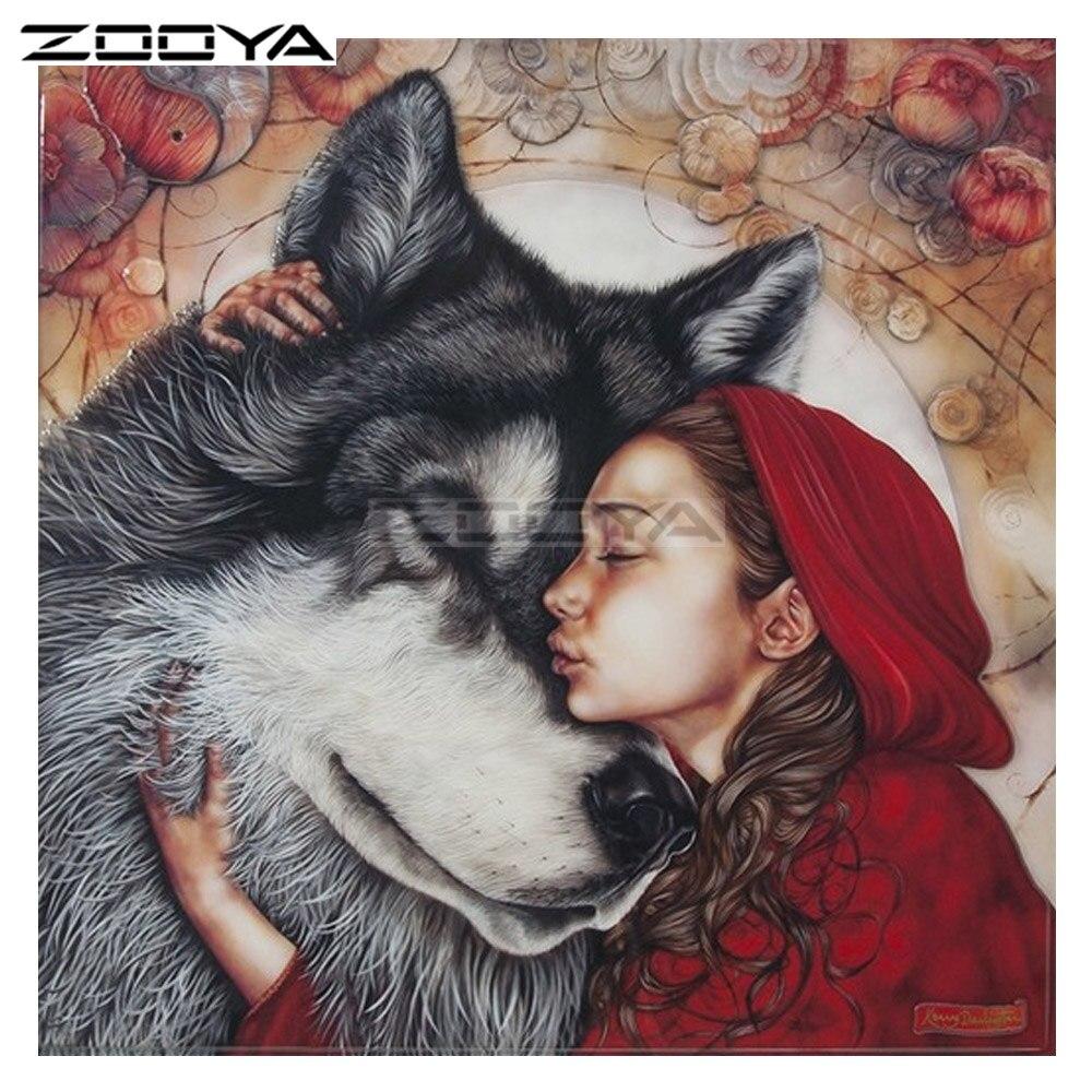 ZOOYA Diamond Embroidery Beauty And Wolf Painting Characters Diamond Painting Cross Stitch Square Rhinestone Mosaic BK1070
