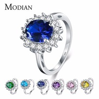 2 5Ct Real Solid 925 Sterling Silver Ring Fashion Women Gift Sapphire Emerald Jewelry Brand Wedding
